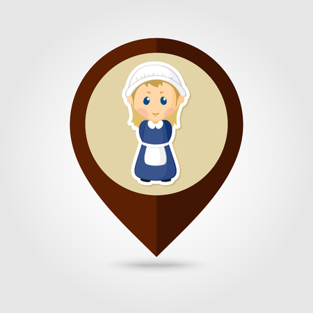pilgrim costume: American Pilgrim children mapping pin icon, Thanksgiving day