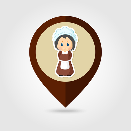 pilgrim costume: American Pilgrim children mapping pin icon, Thanksgiving day, eps 10