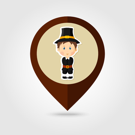pilgrim costume: American Pilgrim children mapping pin icon, Thanksgiving day, eps 10