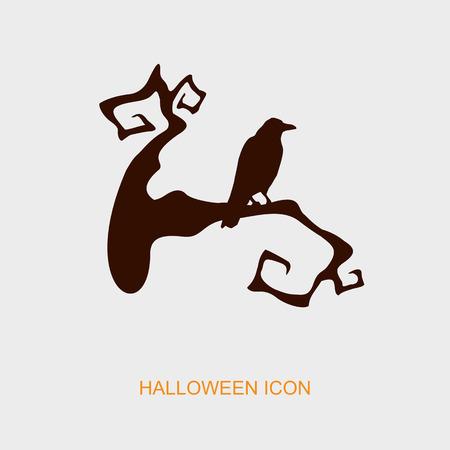 raven: Raven on a branch halloween icon, vector illustration
