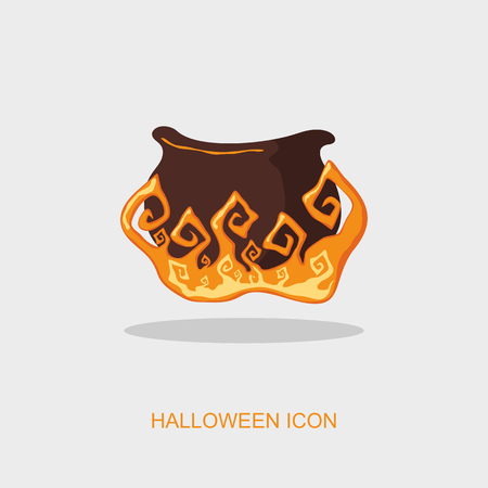 witchery: Halloween witch cauldron icon, vector illustration