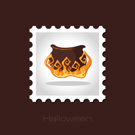 witchery: Halloween witch cauldron stamp, vector illustration  Illustration