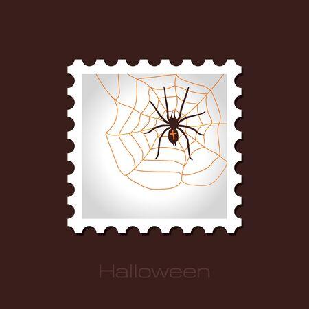 arachnid: Spider web and spider halloween stamp, vector illustration Illustration