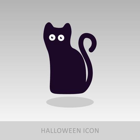 halloween black cat: Halloween, black cat icon, vector illustration