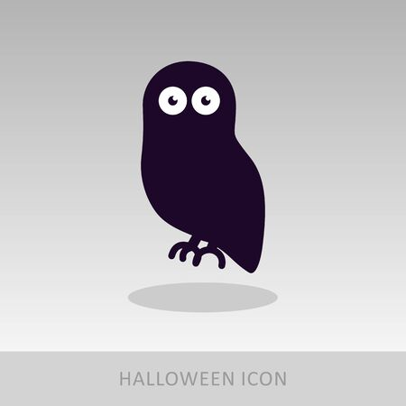 avian: Halloween owl icon, vector illustration