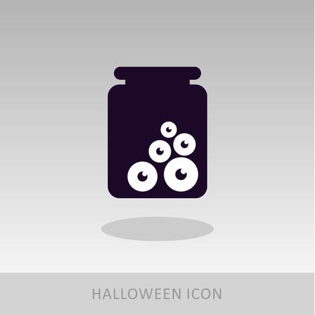 preserved: Halloween, eye glass jar icon, vector illustration  Illustration