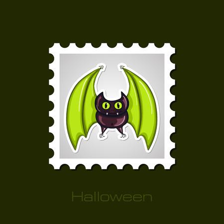 stamp vector: Halloween Bat stamp, vector illustration