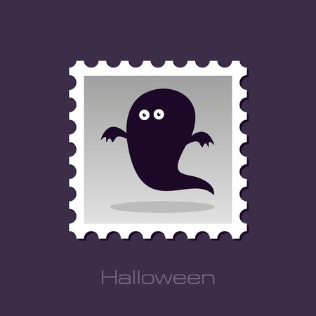 apparition: Halloween Ghost stamp, vector illustration