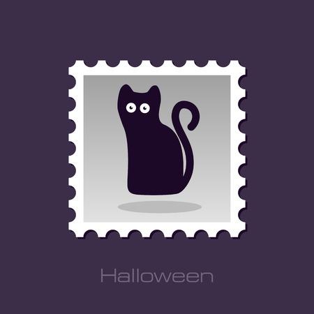 halloween black cat: Halloween, black cat stamp, vector illustratio