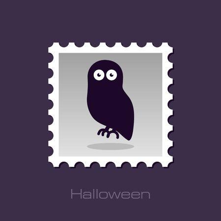 stamp vector: Halloween owl stamp, vector illustration