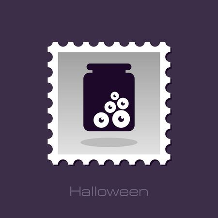 eye glass: Halloween, eye glass jar stamp, vector illustration Illustration
