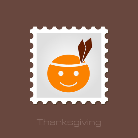 pilgrim costume: American Indian children stamp, Thanksgiving day