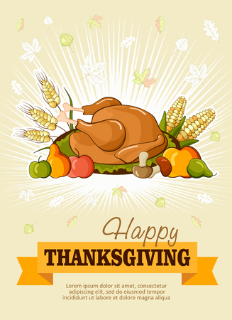 Happy Thanksgiving Day celebration flyer, banner or poster with turkey, fruit, vegetable and autumn leaves on yellow background.