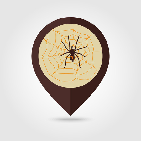 arachnid: Spider web and spider halloween mapping pin icon, vector illustration