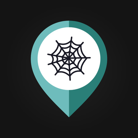 spider web: Spider web halloween mapping pin icon, vector illustration