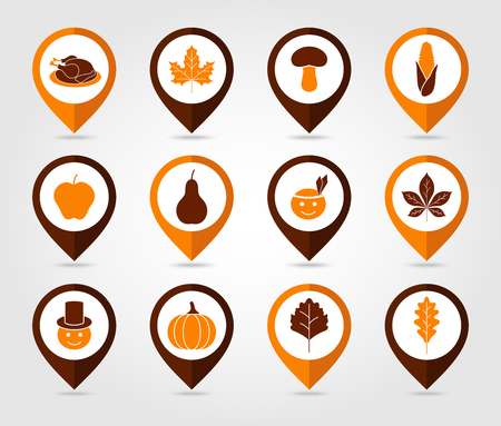 mapping: Thanksgiving, Harvest mapping pin icon set vector