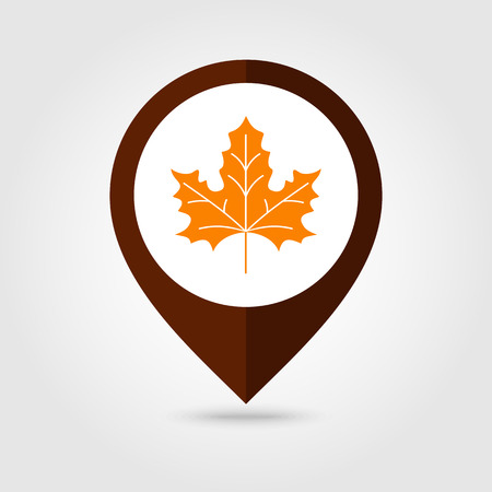 mapping: Autumn Leaves mapping pin icon, Harvest Thanksgiving vector