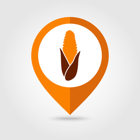 corncob: Corn mapping pin icon, Harvest Thanksgiving vector illustration Illustration