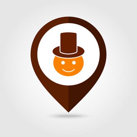 pilgrim costume: American Pilgrim children mapping pin icon, Thanksgiving day