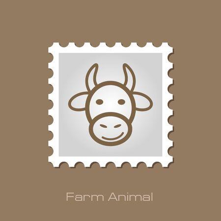 animal head: Cow stamp. Animal head vector illustration, eps 10