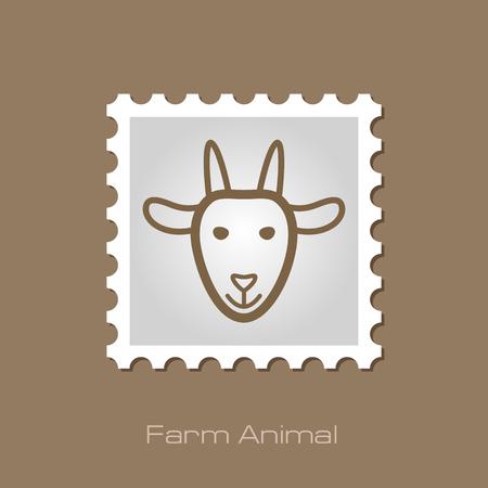 animal head: Goat stamp. Animal head vector illustration, eps 10