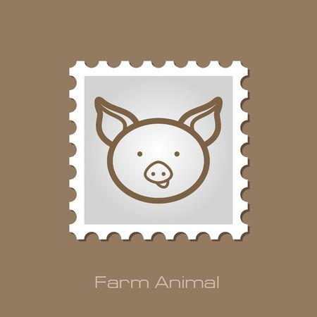 animal head: Pig stamp. Animal head vector illustration, eps 10