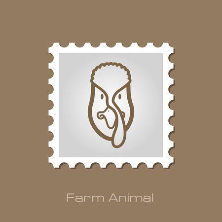 gobbler: Turkey stamp. Animal head vector illustration, eps 10