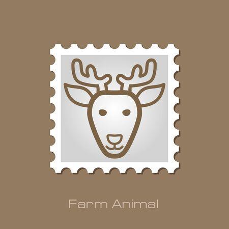 animal head: Deer stamp. Animal head vector illustration, eps 10 Illustration