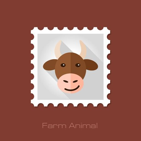 animal head: Cow flat stamp. Animal head vector illustration, eps 10