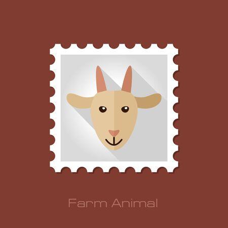 animal head: Goat flat stamp. Animal head vector illustration, eps 10