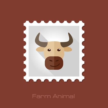 animal head: Bull flat stamp. Animal head vector illustration, eps 10 Illustration