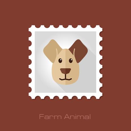 animal head: Dog flat stamp. Animal head vector illustration, eps 10 Illustration