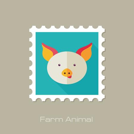 animal head: Pig flat stamp. Animal head vector illustration, eps 10