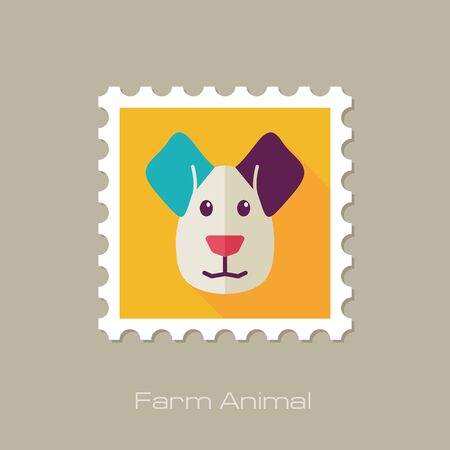 lick: Dog flat stamp. Animal head vector illustration, eps 10 Illustration