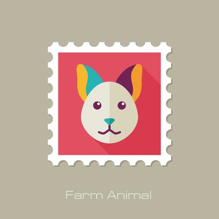 animal head: Cat flat stamp. Animal head vector illustration, eps 10