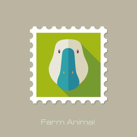 Goose flat stamp. Animal head vector illustration, eps 10 Vettoriali