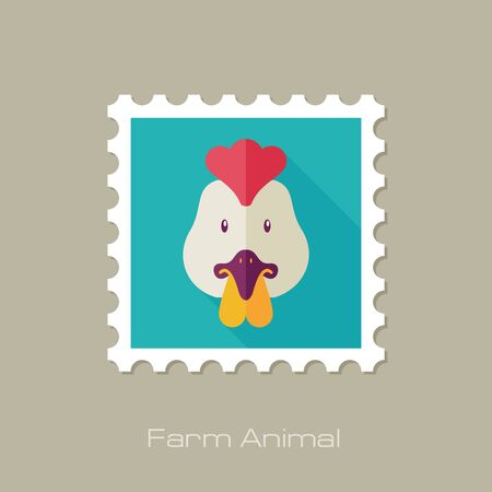 animal head: Chicken flat stamp. Animal head vector illustration, eps 10
