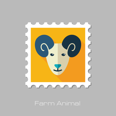 mutton: Sheep flat stamp. Animal head vector illustration, eps 10 Illustration