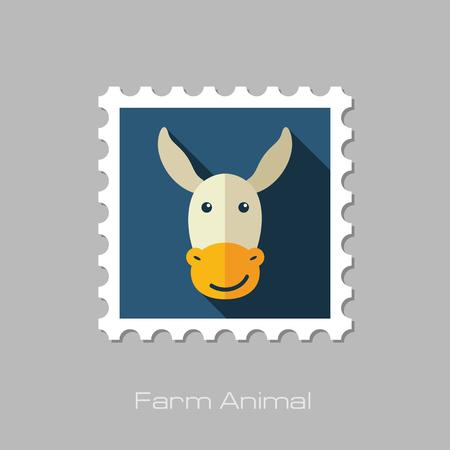 jackass: Donkey flat stamp. Animal head vector illustration, eps 10