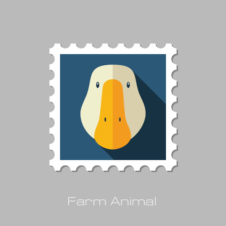 animal head: Goose flat stamp. Animal head vector illustration, eps 10 Illustration