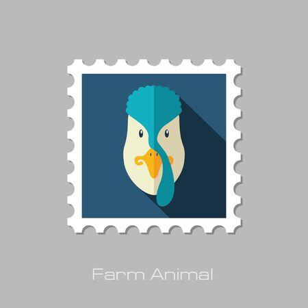 gobbler: Turkey flat stamp. Animal head vector illustration, eps 10