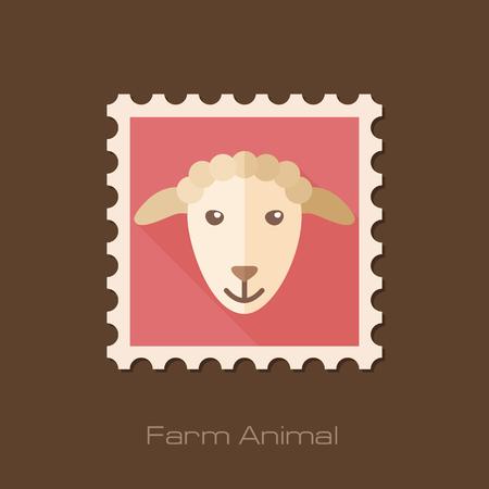 animal head: Sheep flat stamp. Animal head vector illustration, eps 10 Illustration