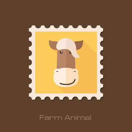 animal head: Horse flat stamp. Animal head vector illustration, eps 10 Illustration