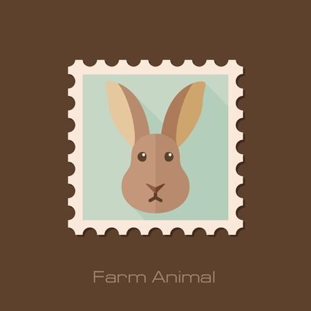 animal head: Rabbit flat stamp. Animal head vector illustration, eps 10