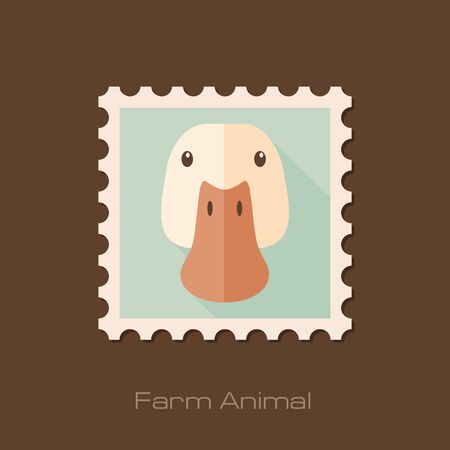 animal head: Duck flat stamp. Animal head vector illustration, eps 10