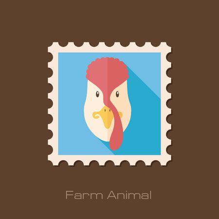 animal head: Turkey flat stamp. Animal head vector illustration, eps 10