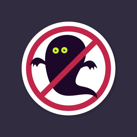 specter: No, Ban or Stop signs. Halloween Ghost icon, Prohibition forbidden red symbols, vector illustration eps 10