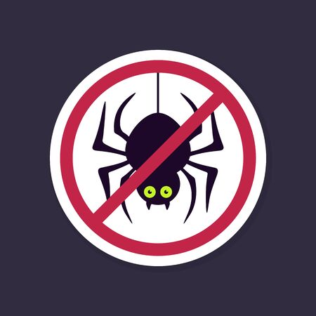 sing: No, Ban or Stop signs. Spider halloween icon, Prohibition forbidden red symbols, vector illustration eps 10