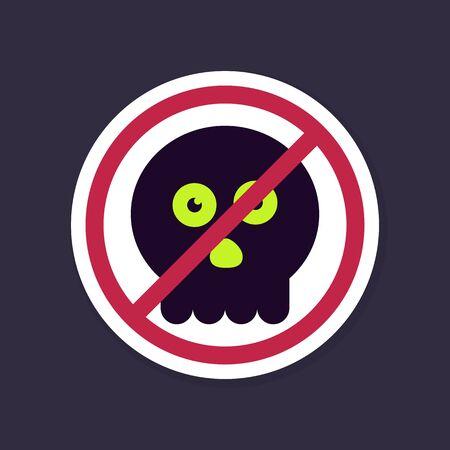 unlawful: No, Ban or Stop signs. halloween skull icon, Prohibition forbidden red symbols, vector illustration eps 10 Illustration