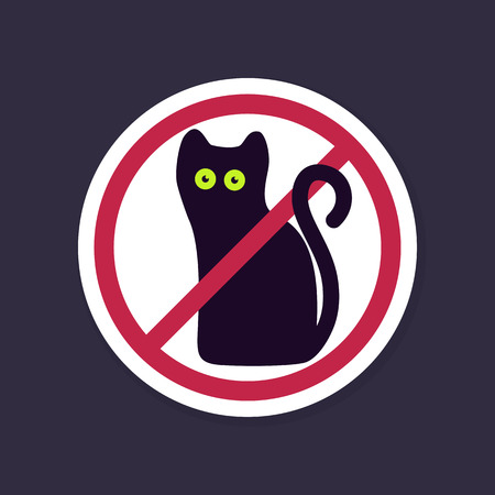 black and red cat: No, Ban or Stop signs. Halloween, black cat icon, Prohibition forbidden red symbols, vector illustration eps 10